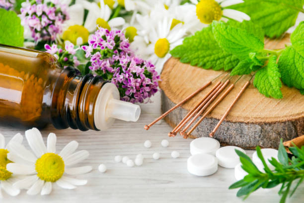 Alternative medicine with acupuncture and globules